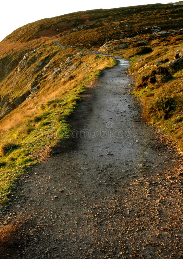 Irish coast line path stock photography