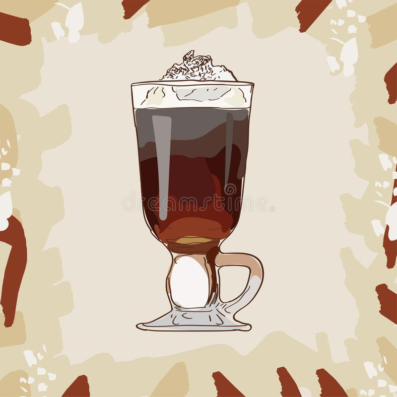 Irish Cream Coffee classic cocktail illustration. Alcoholic bar drink hand drawn vector. Pop art royalty free illustration