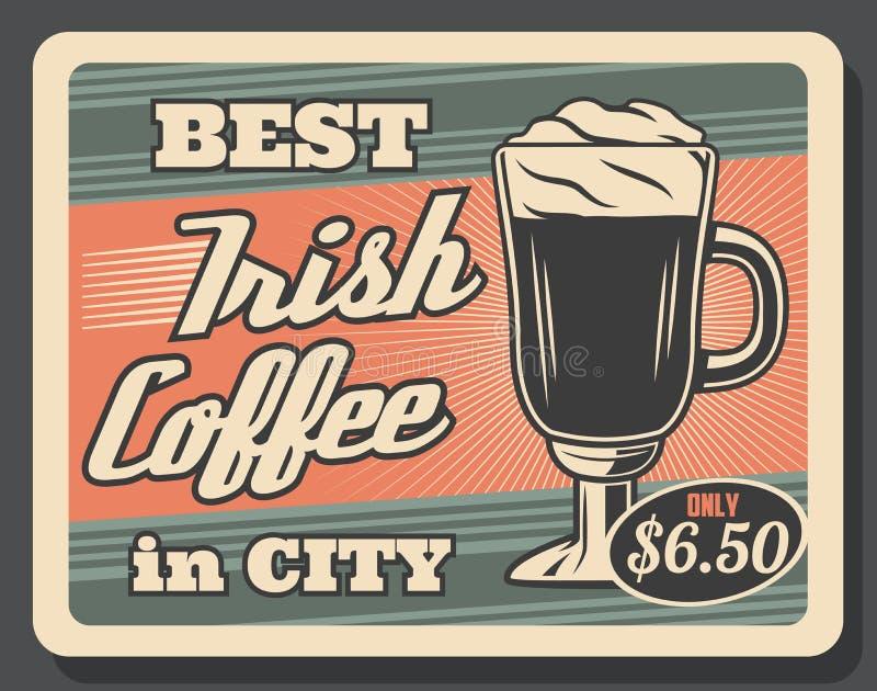Irish coffee, tazza di vettore retro e schiuma di vetro illustrazione di stock