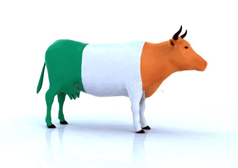 Irish cow with flag stock illustration