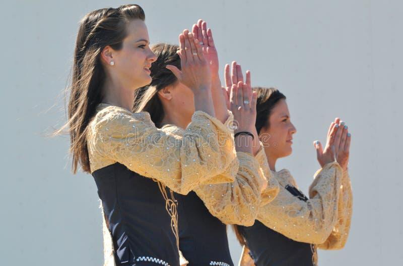 Irish Dancers. And Canadian flag at Edmonton's Heritage Days stock photography