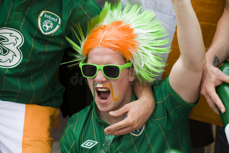 Download Irish fan in Poznan. editorial image. Image of cheer - 25394105