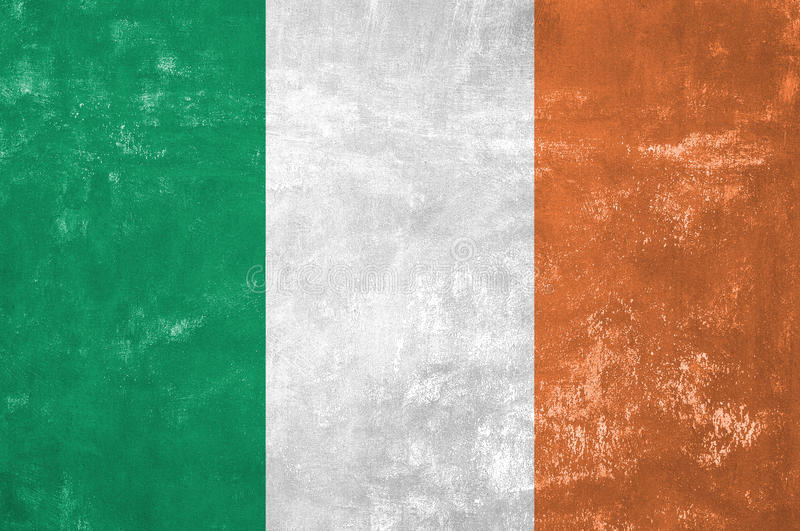 Irish Flag. Ireland - Irish Flag on Old Grunge Texture Background stock images
