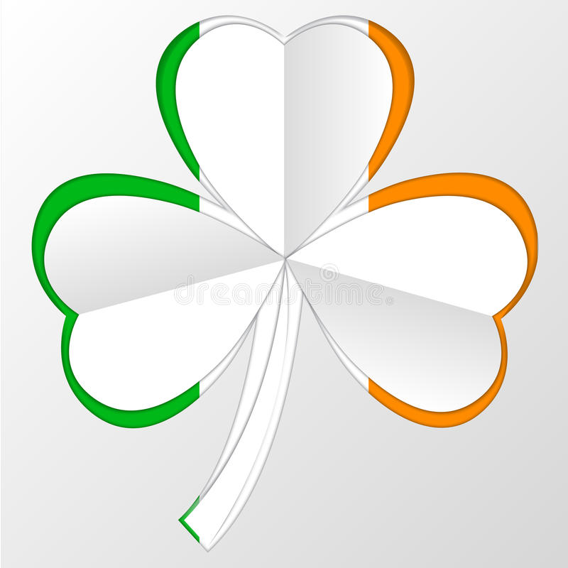 Irish flag and symbol combination on white stock photos