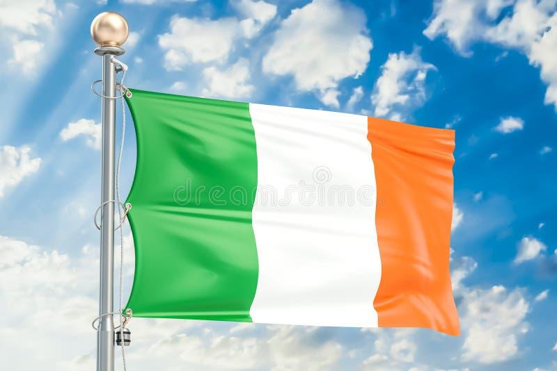 Irish flag waving in blue cloudy sky, 3D vector illustration