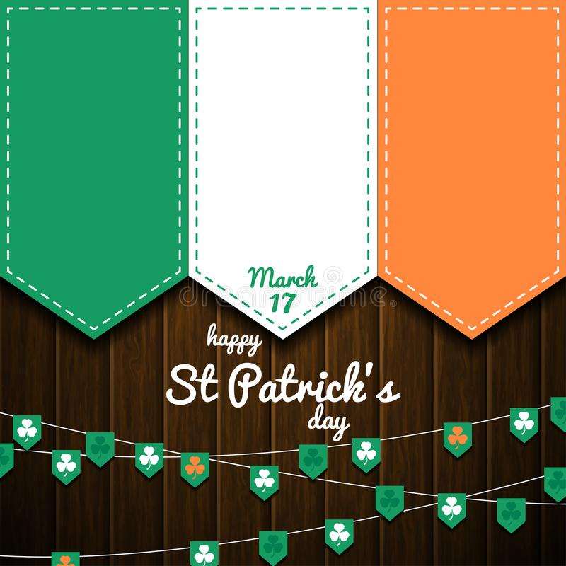 Irish flag on wooden wall. st patricks day background stock image