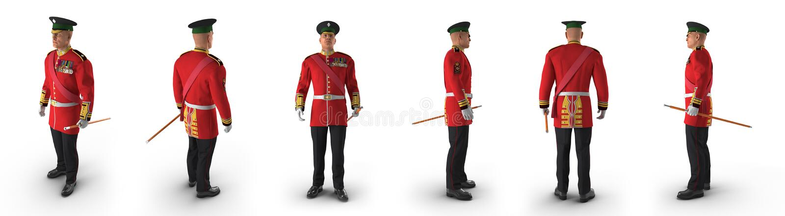 Irish Guard Sergeant renders set from different angles on a white. 3D illustration. Irish Guard Sergeant renders set from different angles on a white background stock illustration