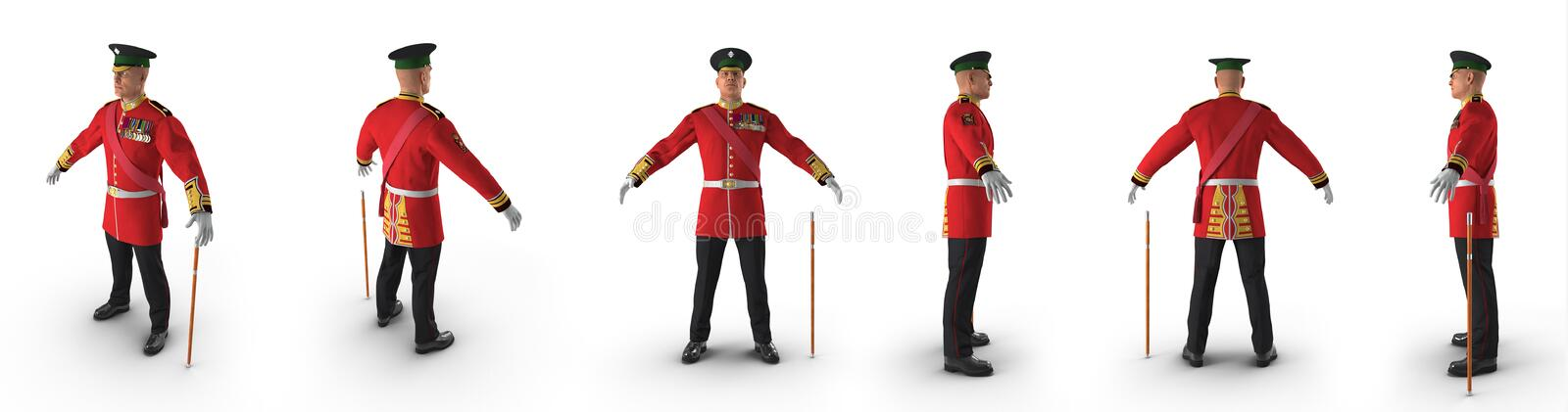 Irish Guard Sergeant renders set from different angles on a white. 3D illustration. Irish Guard Sergeant renders set from different angles on a white background royalty free illustration