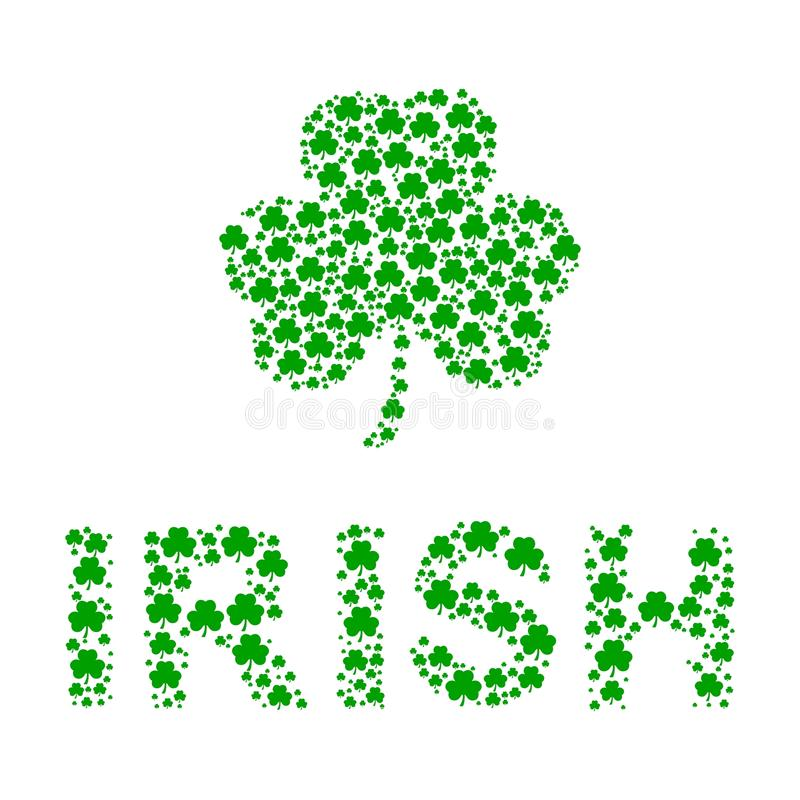 Irish. Illustration with a clover leaf and word `Irish` made from small clover leaves vector illustration