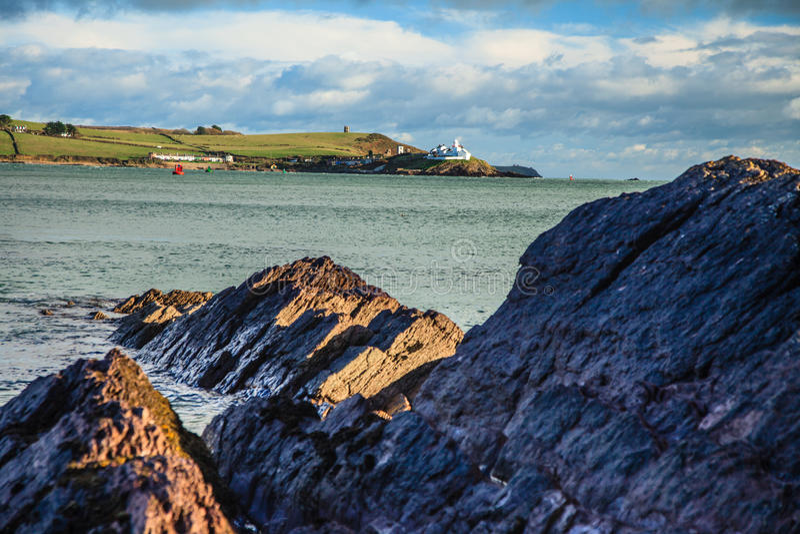 Irish landscape. coastline atlantic coast County Cork, Ireland. Irish landscape. Coastline atlantic ocean coast scenery cloudy blue sky, Church Bay County Cork stock photos
