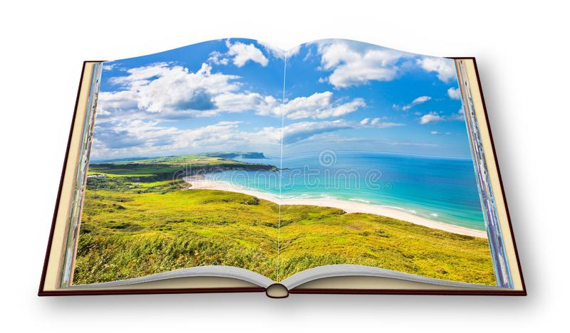 Irish landscape in northern Ireland County Antrim - United Kingdom - 3D render concept image of an opened photo book isolated on stock image