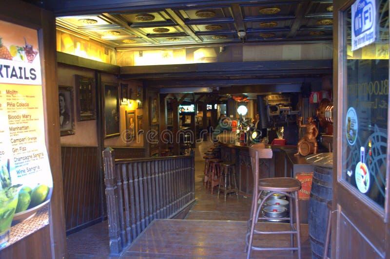 Irish pub bar. Interior on La Rambla street,Barcelona,Spain royalty free stock photos
