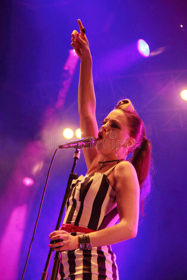 Irish rockabilly singer Imelda May during his show in Cruilla Barcelona Festival, July 12, 2014. BARCELONA, SPAIN - JULY 12, 2014: Irish rockabilly singer Imelda royalty free stock photo