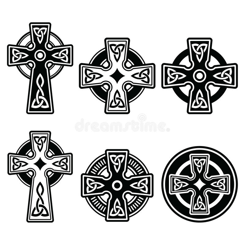 Irish Scottish Celtic Cross On White Sign Stock Illustration