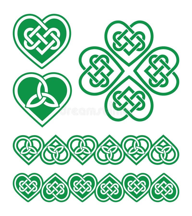 Irish Scottish Celtic Green Heart Pattern Stock Illustration
