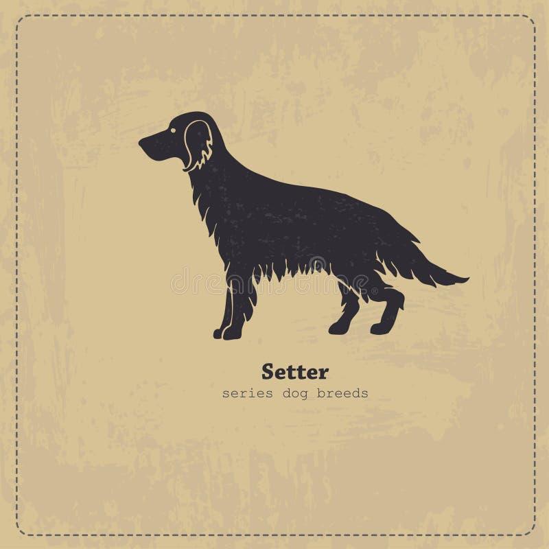 Irish Setter dog silhouette royalty free illustration