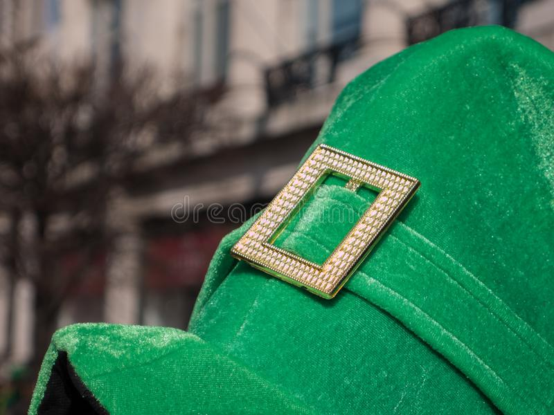 Irish style top hot being worn on St. Patrick`s day in Dublin, Ireland stock photography
