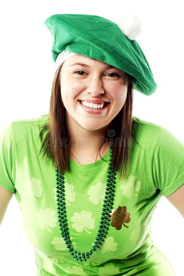 Irish young lady dressed for st patricks day royalty free stock image
