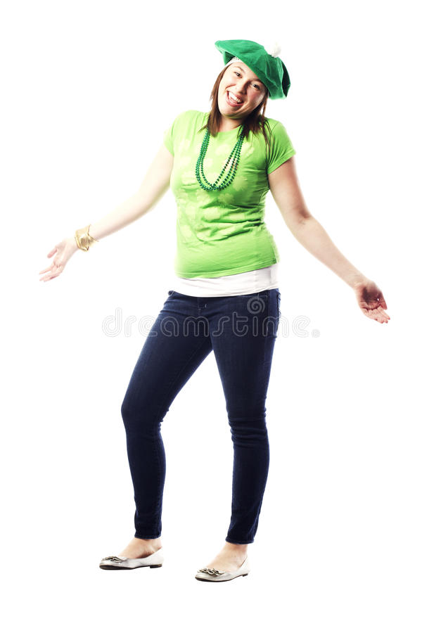 Irish Young Lady Dressed For St Patricks Day Royalty Free Stock Photography