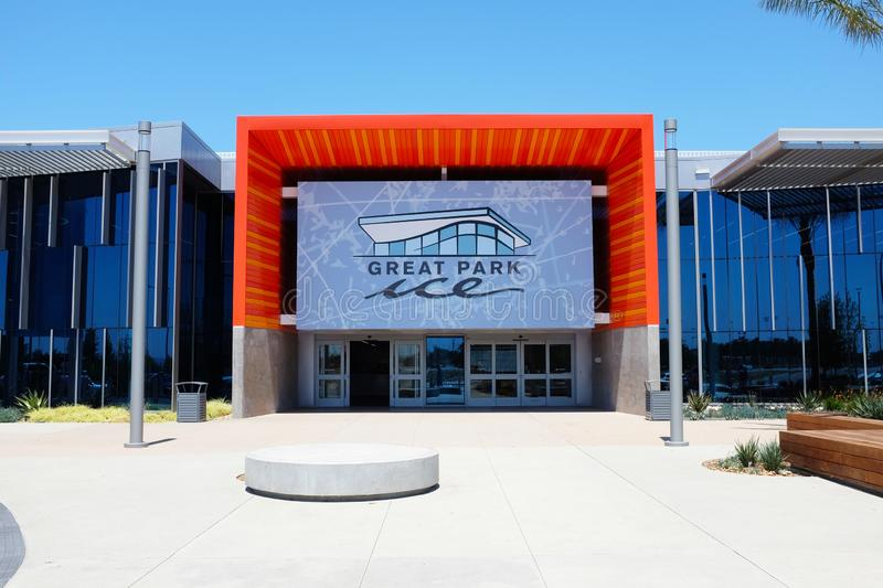 Great Park Ice and FivePoint Arena, a $110-million facility by the NHLs Anaheim Ducks, provides training space and community. IRIVNE, CALIFORNIA - JULY 11, 2019 stock photos