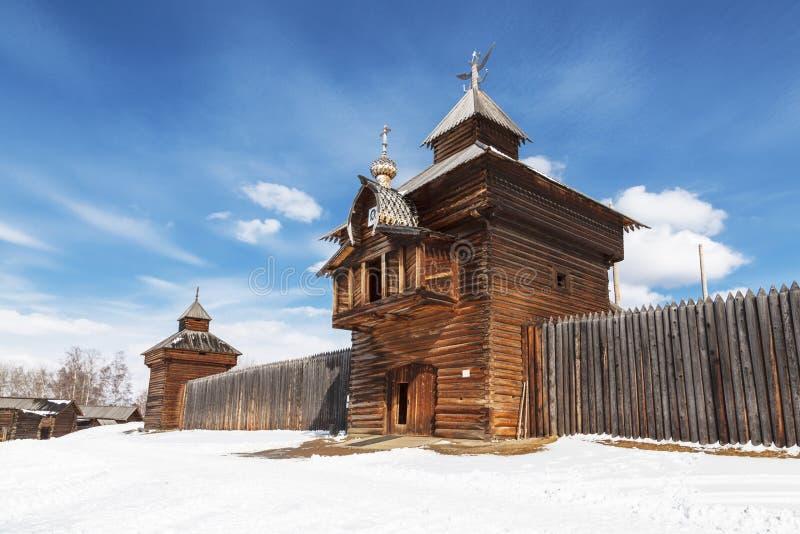 Irkutsk architectural and ethnographic Museum `Taltsy`. .The Spasskaya Saviour tower iof Ilimsk stockaded town, 1667, the selo royalty free stock photo