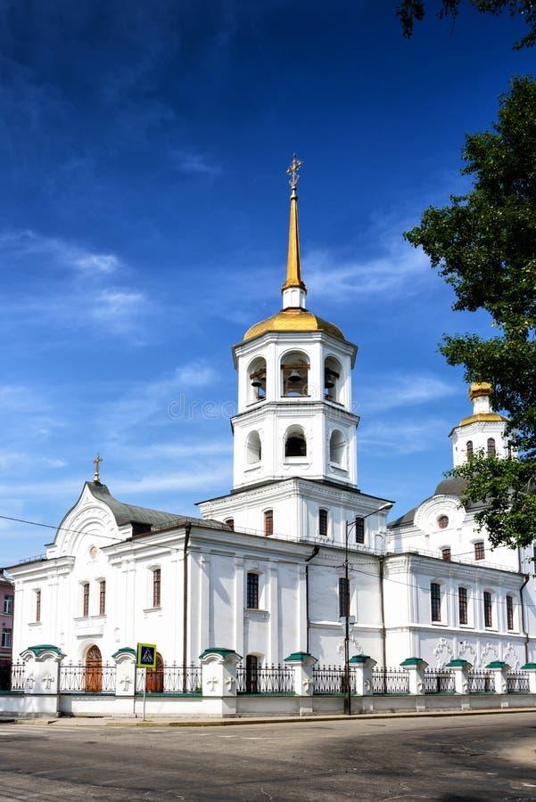 Irkutsk, Rússia, julho, 6, 2019: Igreja de St Michael o arcanjo Harlampievskaya na cidade de Irkutsk foto de stock