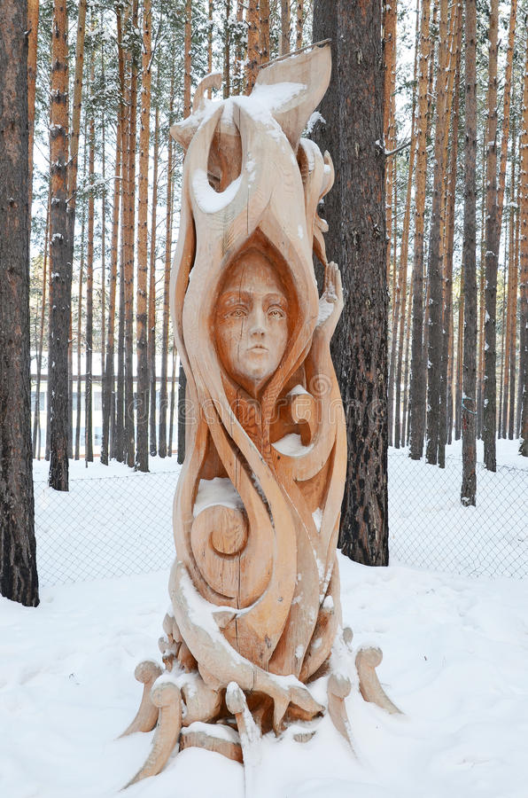 Irkutsk Region,Russia-Jan, 03 2015: Forest Fairy. Park of wooden sculptures in Savvateevka Village royalty free stock image