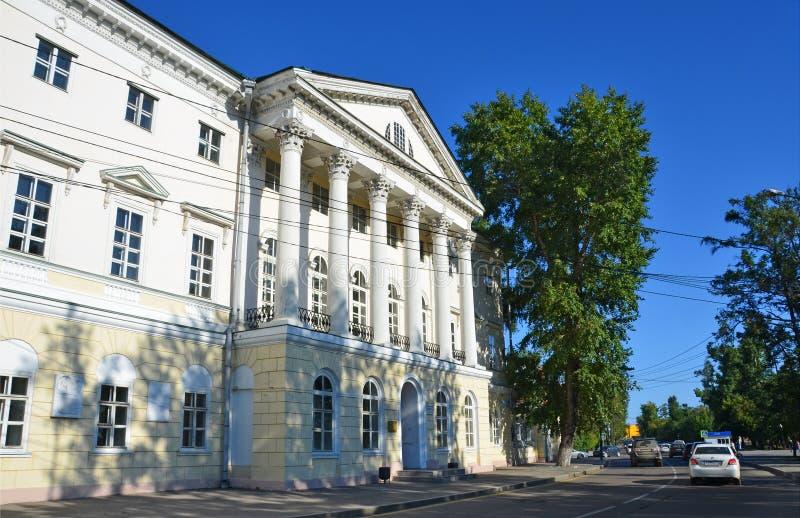 Irkutsk, Rusia, marzo, 17, 2017 La casa blanca es un edificio de piedra 1800-1804 en Irkutsk en el bulevar de Gagarin fotos de archivo libres de regalías