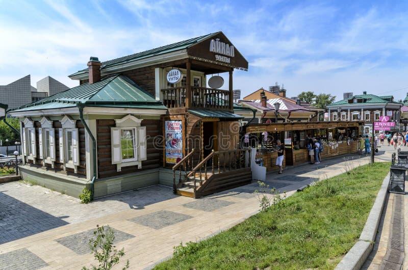 IRKUTSK, RUSSIA - JULY 6, 2019: 130 Kvartal is created area of historic buildings in the center of Irkutsk, summer. IRKUTSK, RUSSIA - JULY 6, 2019: 130 Kvartal royalty free stock photography