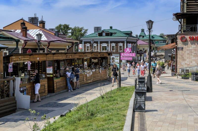 IRKUTSK, RUSSIA - JULY 6, 2019: 130 Kvartal is created area of historic buildings and small bazaar at Irkutsk, summer. July royalty free stock images