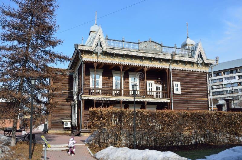 Irkutsk, Russia, 16 marzo, 2017 Camera complessa storica ed architettonica del ` di Europa, il museo del ` di tè Via del ev di di fotografia stock