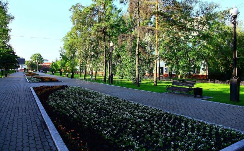 Irkutsk, Russia. Park. Summer. Downtown of the Irkutsk, Russia. Park. Summer royalty free stock images