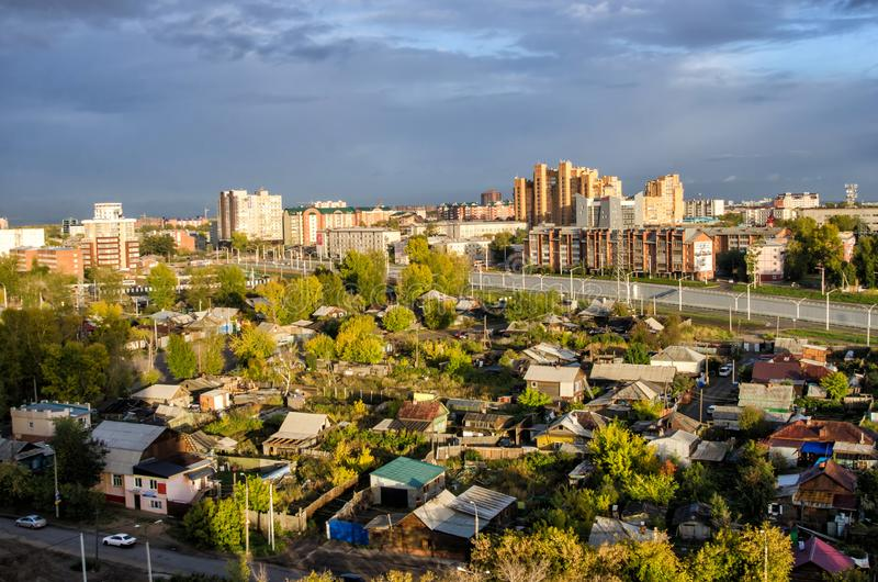 IRKUTSK, RUSSIA - SEPTEMBER 22, 2013: Panoramic top view the city of Irkutsk on sunny summer day royalty free stock photo