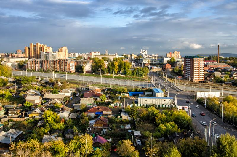 IRKUTSK, RUSSIA - SEPTEMBER 22, 2013: Panoramic top view the city of Irkutsk on sunny summer day stock images