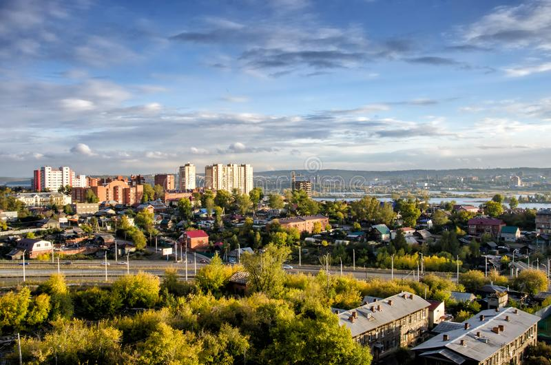 IRKUTSK, RUSSIA - SEPTEMBER 22, 2013: Panoramic top view the city of Irkutsk on sunny summer day stock photography