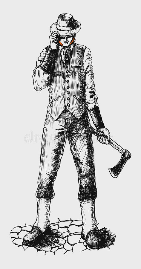 Irländare i en hatt med en yxa stock illustrationer