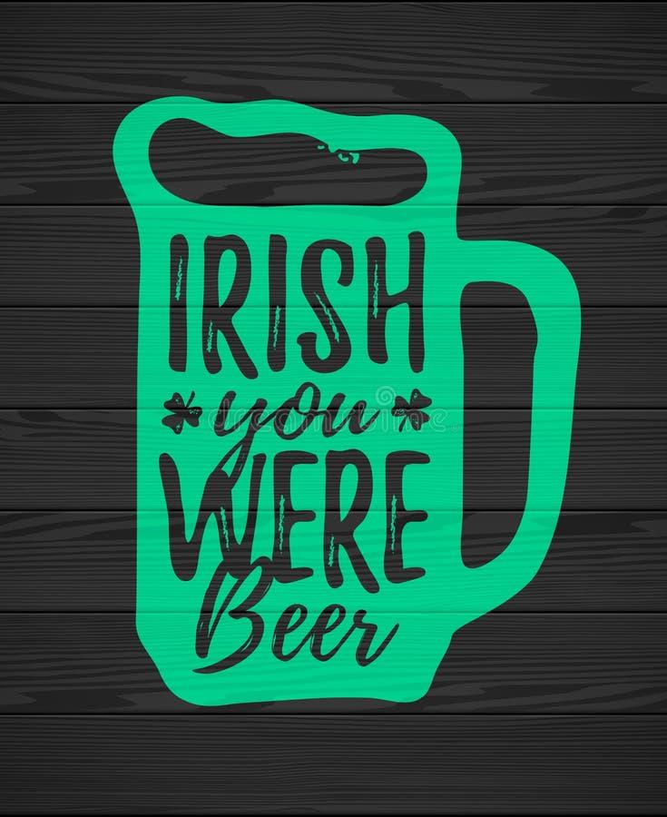Irländare var du öl royaltyfri illustrationer