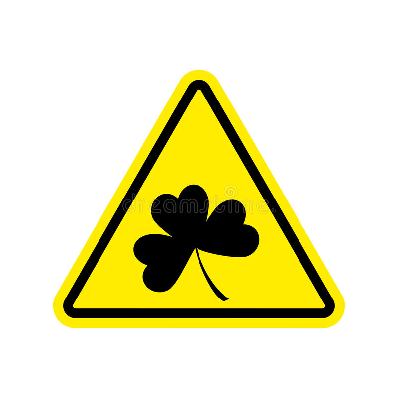 Irländarevarning Växt av släktet Trifolium på gul triangel Vägmärkeuppmärksamhet stock illustrationer