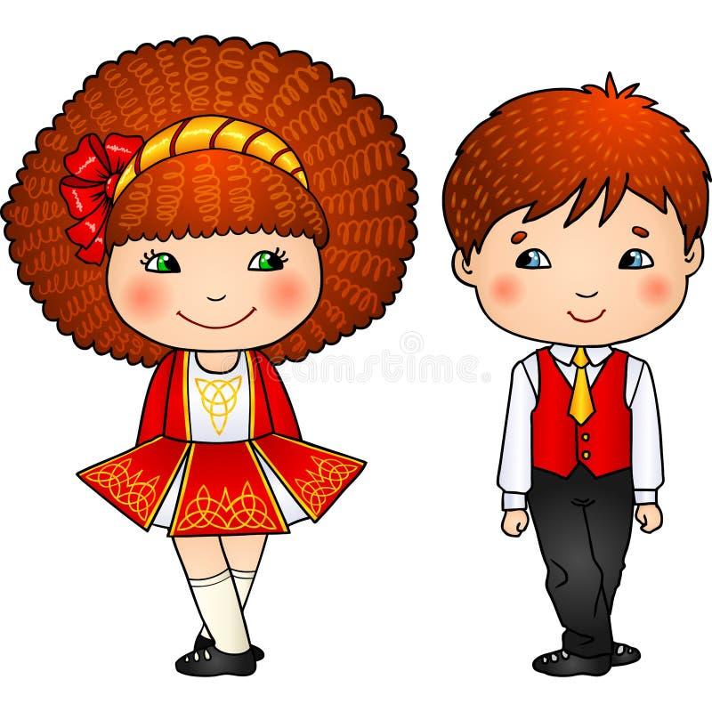 Irländska dansungar i traditionella dräkter stock illustrationer