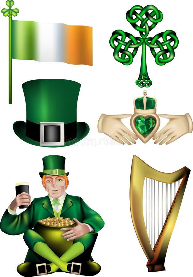 Irländska vektorillustrationer stock illustrationer