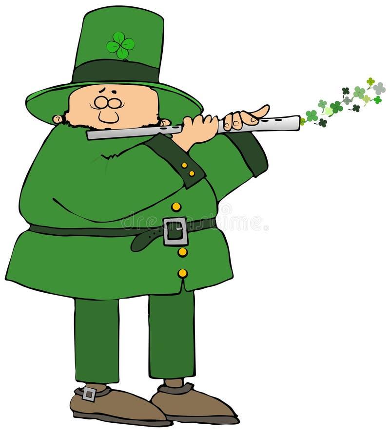 Irländskt troll som spelar en flöjt royaltyfri illustrationer