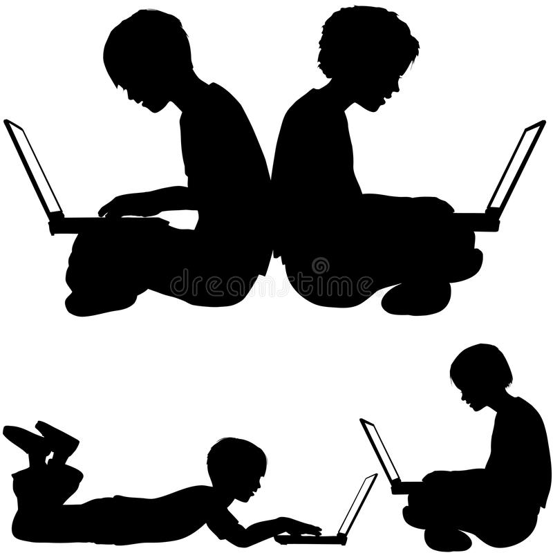 Irl boy use laptops sitting lying on ground. Boy and girl silhouettes as kids sitting or lying on the ground using laptop computers stock illustration