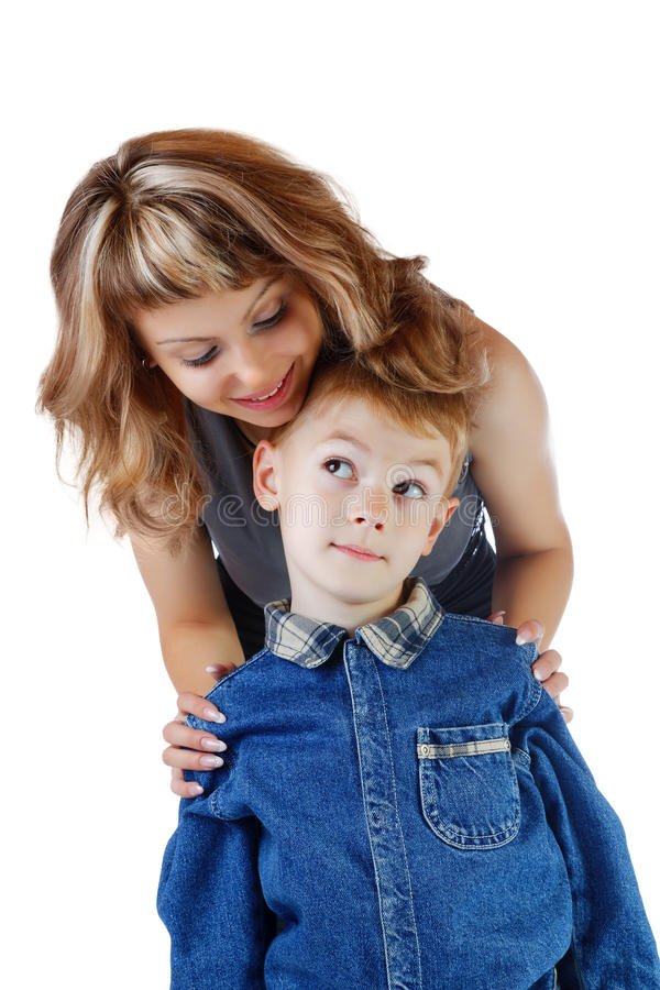Irl and the little boy on a white stock image