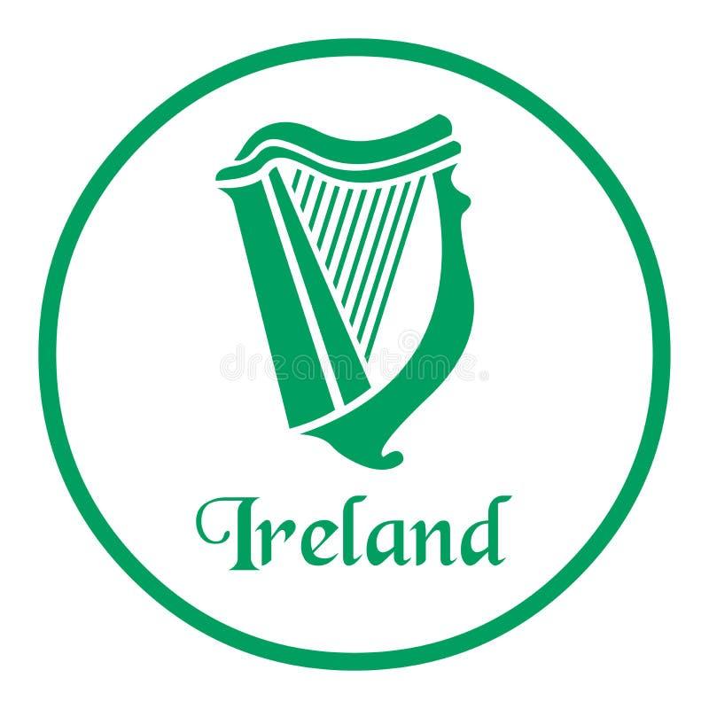 Irland-Emblem mit keltischer Harfe stock abbildung