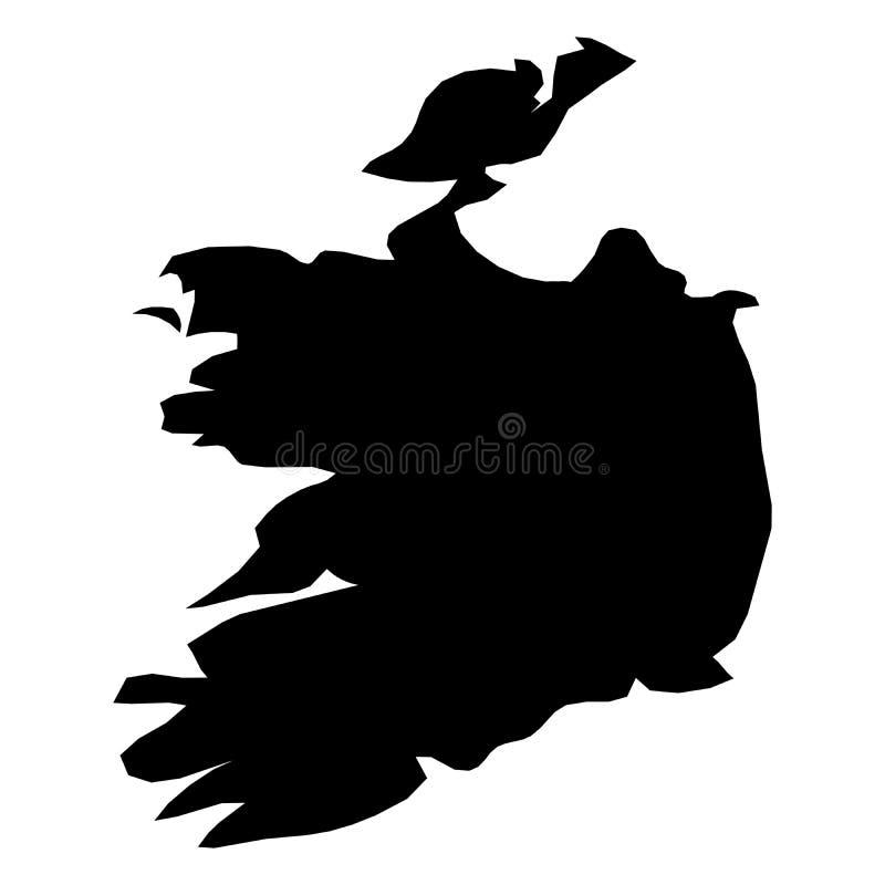 Irland - feste schwarze Schattenbildkarte des Landbereichs Einfache flache Vektorillustration vektor abbildung