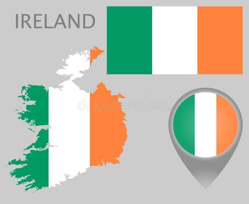 Irland flagga, översikt och översiktspekare vektor illustrationer