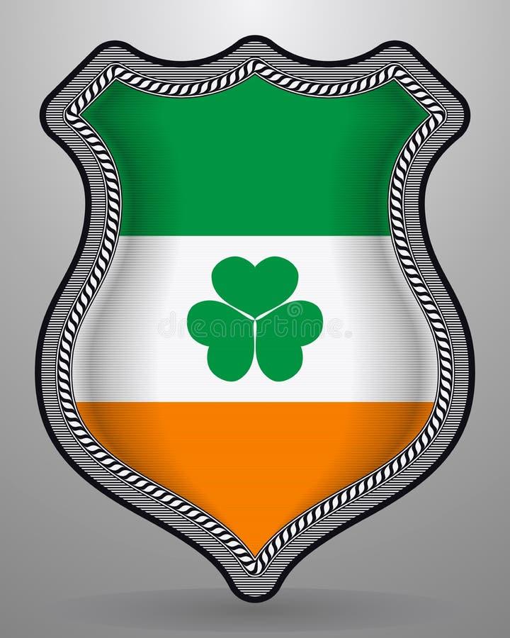Irland-Flagge mit Shamrock Vektor-Ausweis und Ikone vektor abbildung