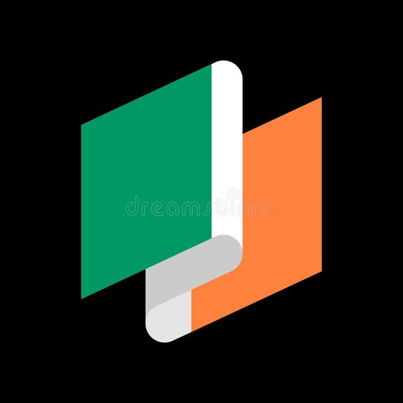 Irland-Flaggenband lokalisiert Irenbandfahne Staatssymbol lizenzfreie abbildung