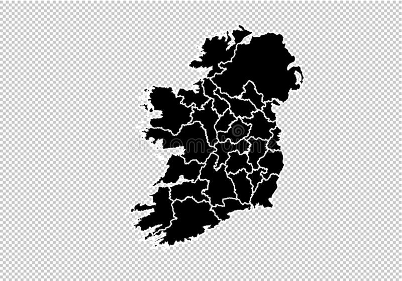 Irland-Karte - ausführliche schwarze Karte des Hochs mit Grafschaften/Regionen/Staaten von Irland Irland-Karte lokalisiert auf tr vektor abbildung