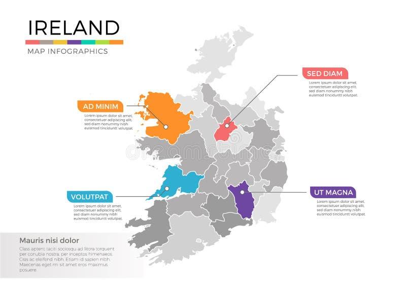 Irland-Karte infographics Vektorschablone mit Regionen und Zeigerkennzeichen stock abbildung